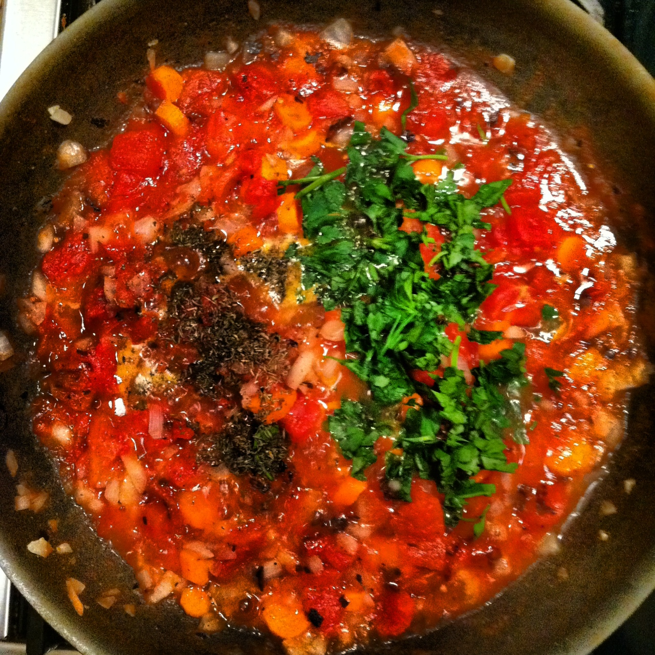 Making the Tomato, Onion, Carrot, Parsley & Time Mixture